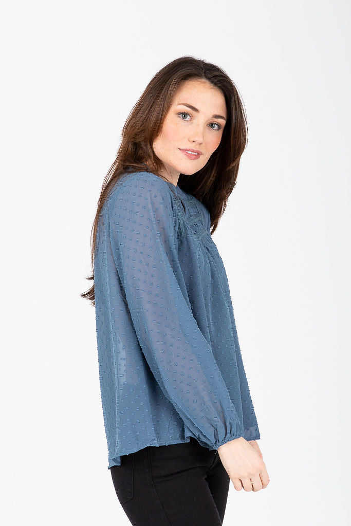 The Winlock Swiss Dot Peasant Blouse in Dusty Blue