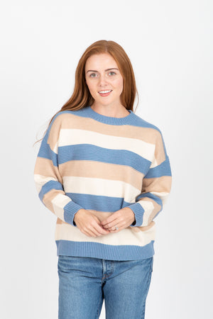 The Juno Striped Sweater in Dusty Blue