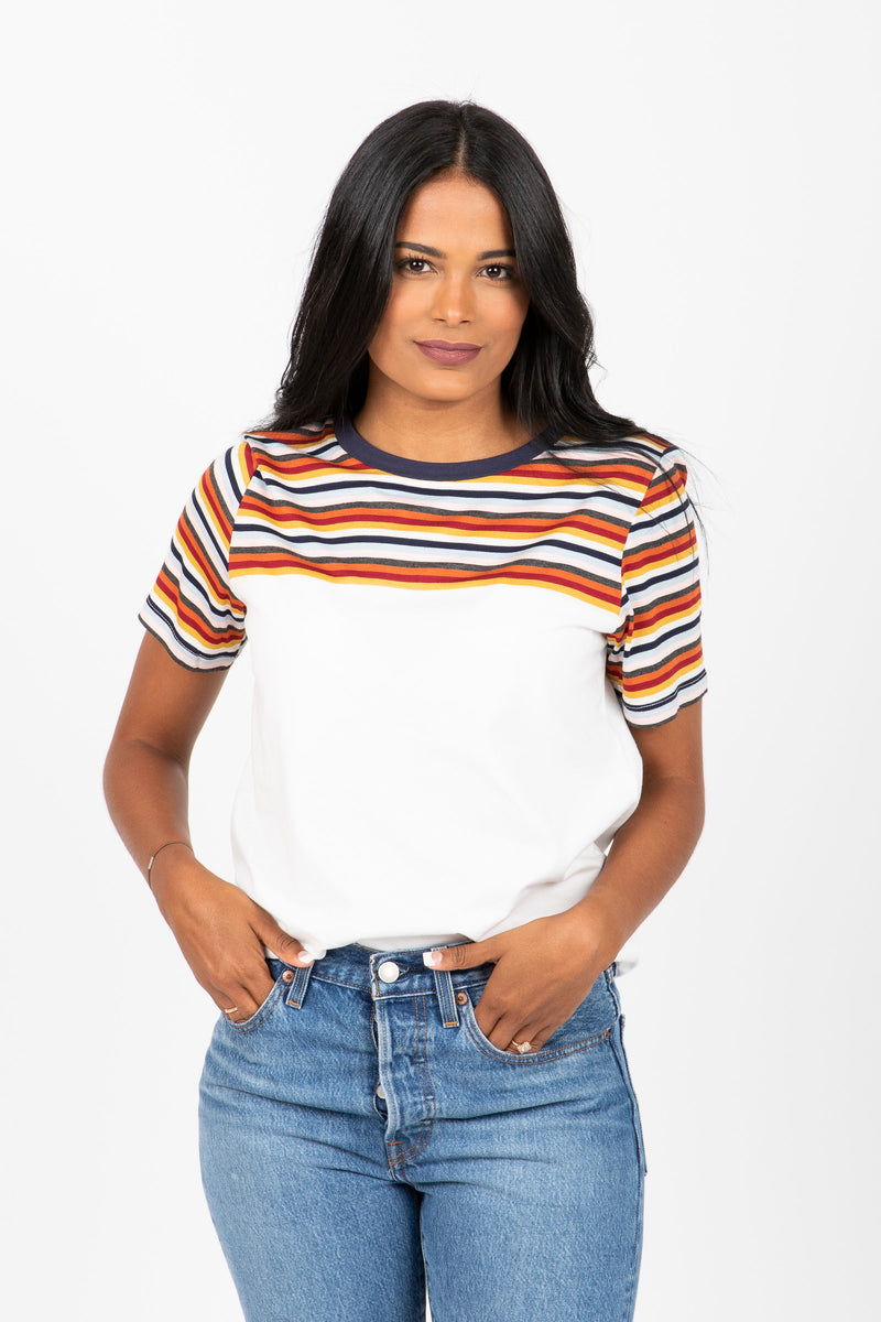 The Mollie Striped Top Tee in Multi