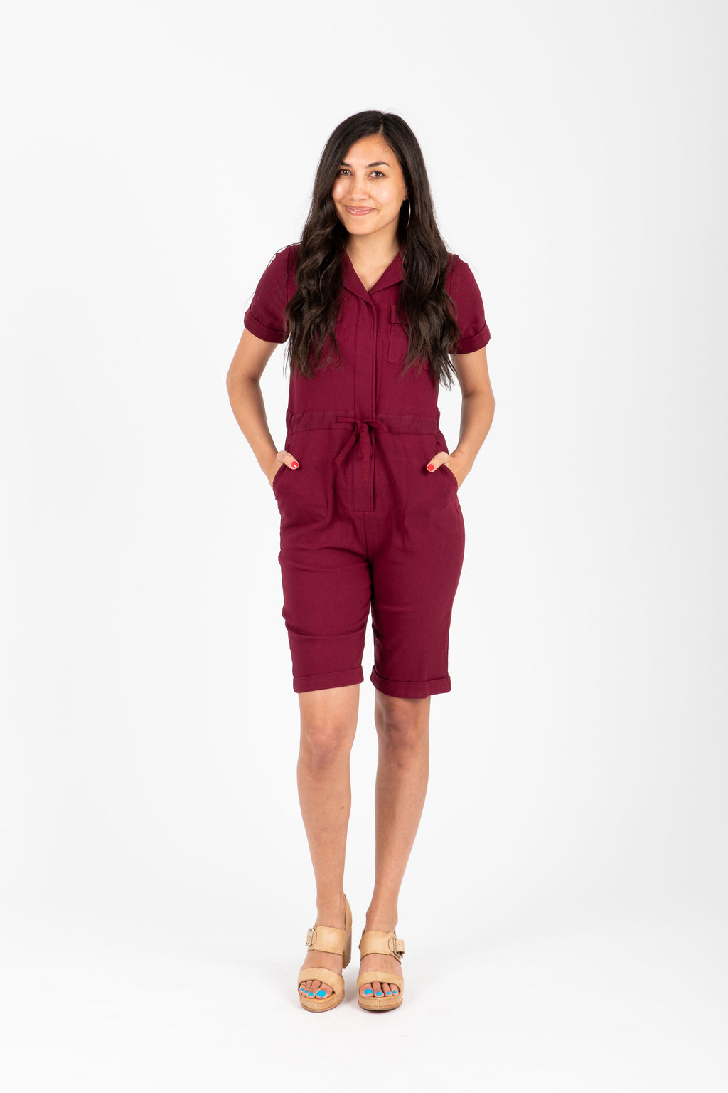 Piper & Scoot: The Lesley Bermuda Jumpsuit in Berry