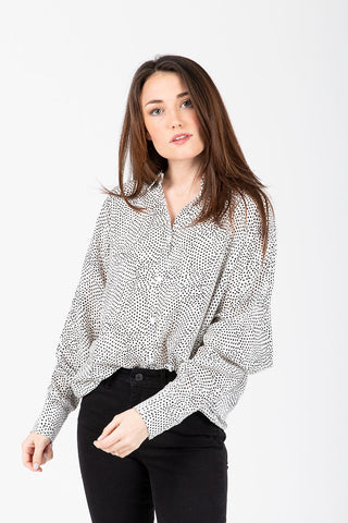 The Marty Floral Empire Blouse in White