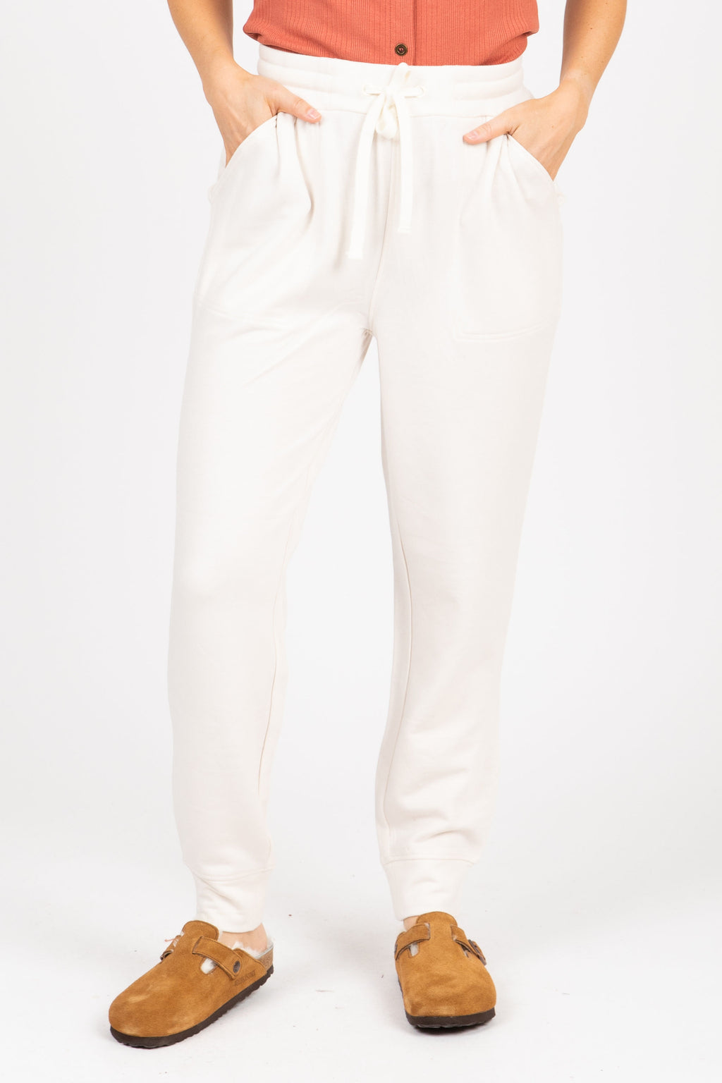 The Sidecar Lounge Pants in Heathered Ivory, studio shoot; front view