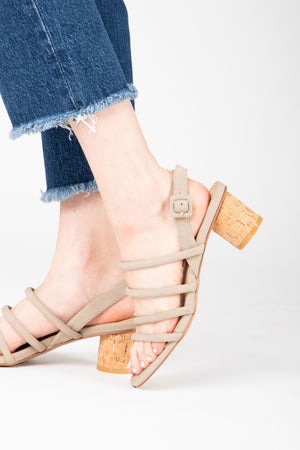 The Zoey Multi Strap Sandal in Taupe, studio shoot; side view