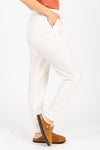 The Sidecar Lounge Pants in Heathered Ivory, studio shoot; side view