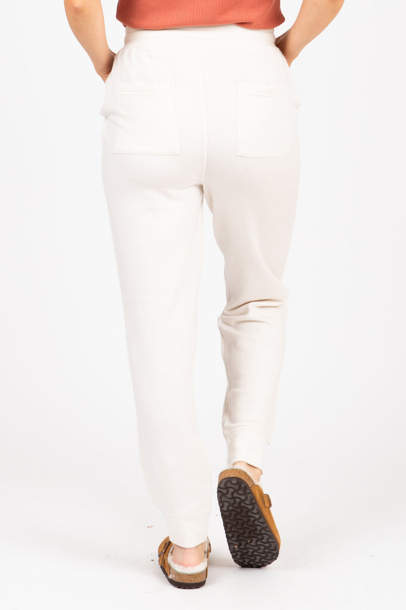 The Sidecar Lounge Pants in Heathered Ivory, studio shoot; back view