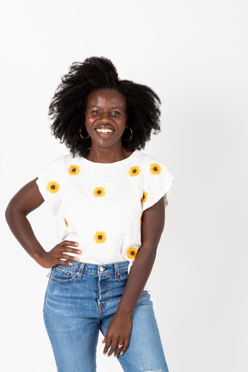 The Lanei Embroidered Daisy Blouse in White, studio shoot; front view