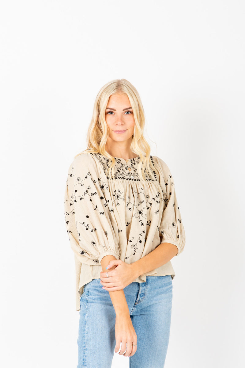 The Fallon Embroidered Blouse in Ivory