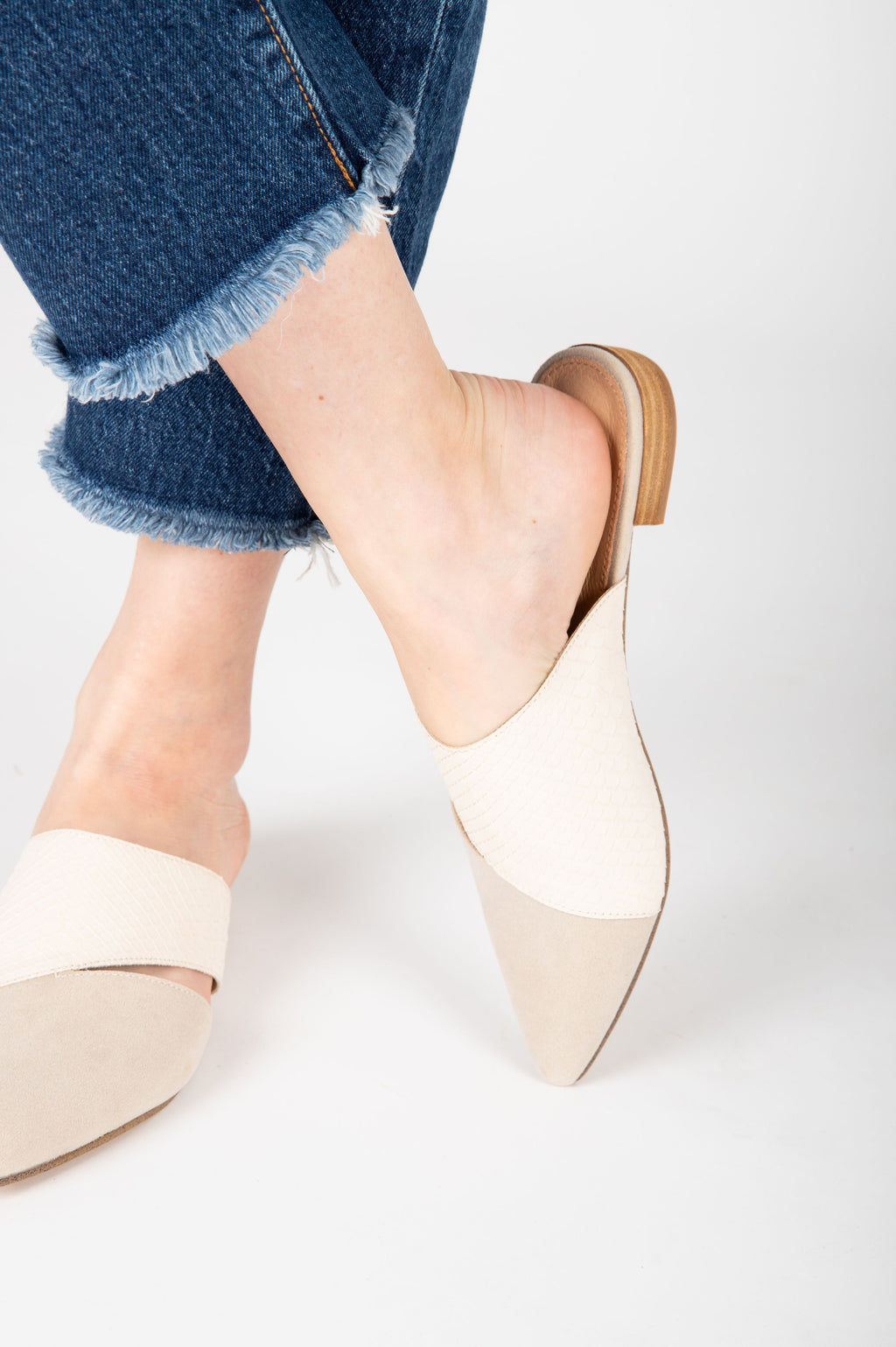 The Epic Pointed Business Mule in Light Grey + Camel, studio shoot; front view
