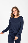 Piper & Scoot: The Lounge PJ Crew Top in Navy, studio shoot; front view