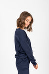 Piper & Scoot: The Lounge PJ Crew Top in Navy, studio shoot; side view