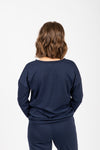Piper & Scoot: The Lounge PJ Crew Top in Navy, studio shoot; back view