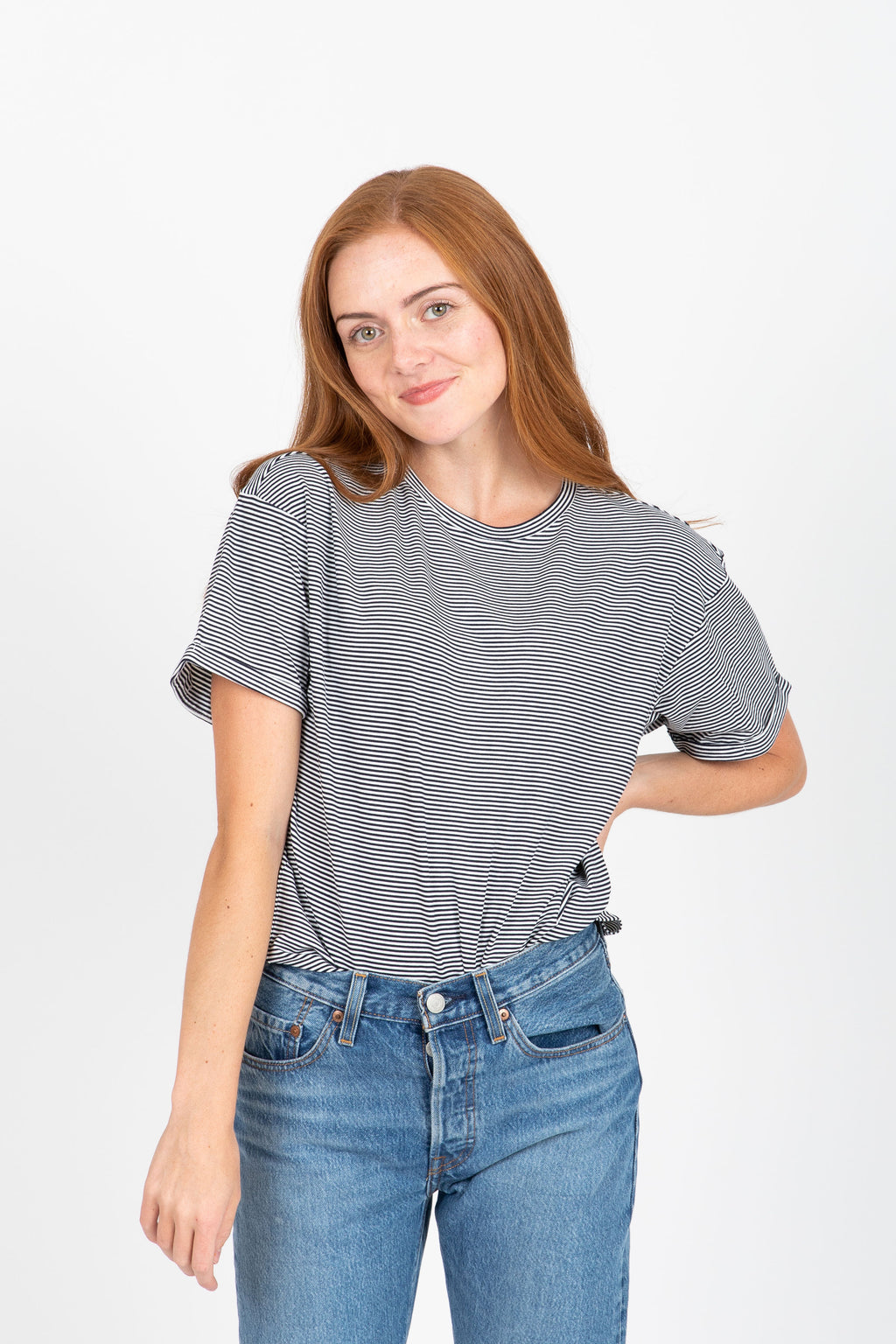 The Niko Striped Tee in Navy