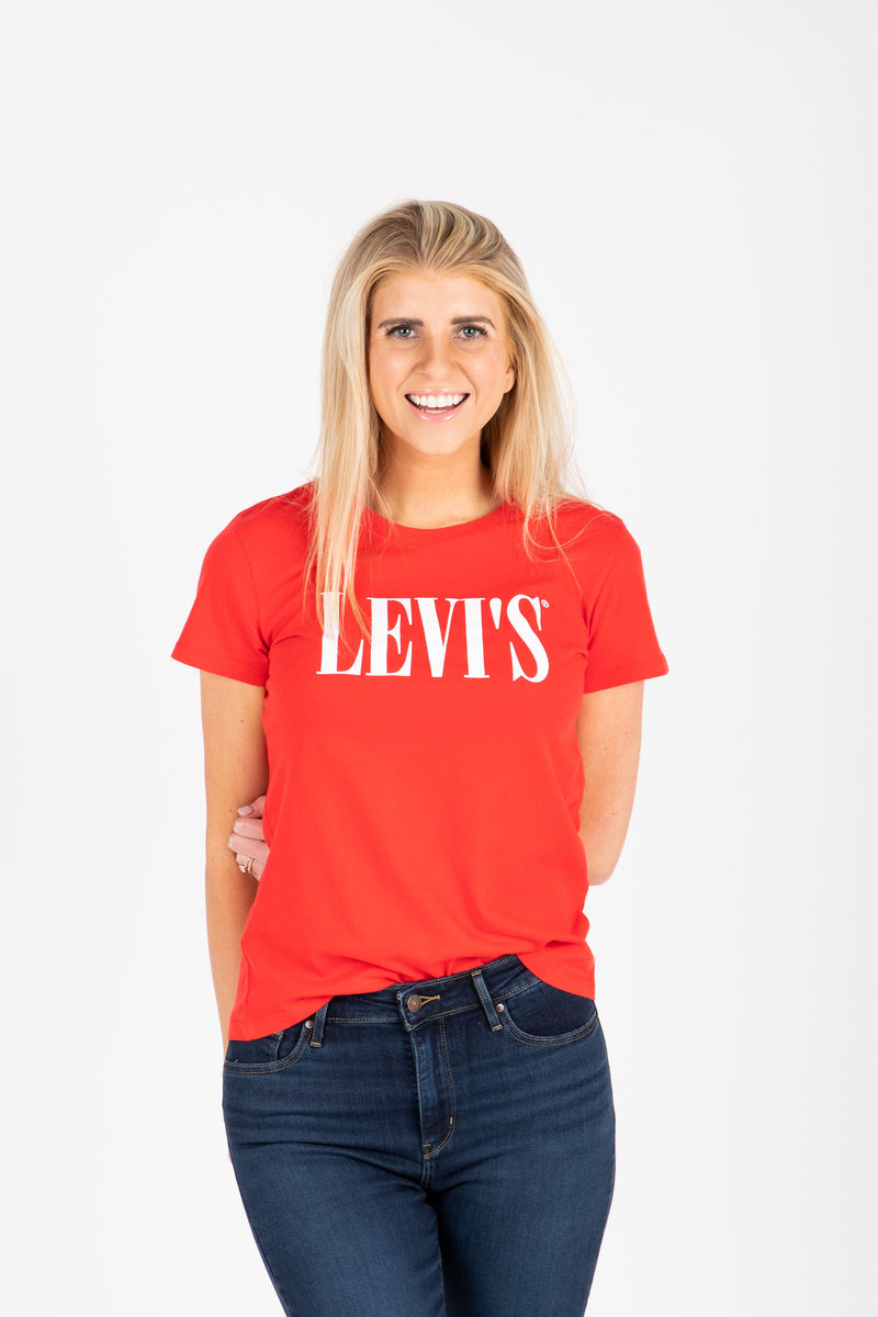 Levi's: 90's Serif Logo Perfect Tee Shirt in Red, studio shoot; front view