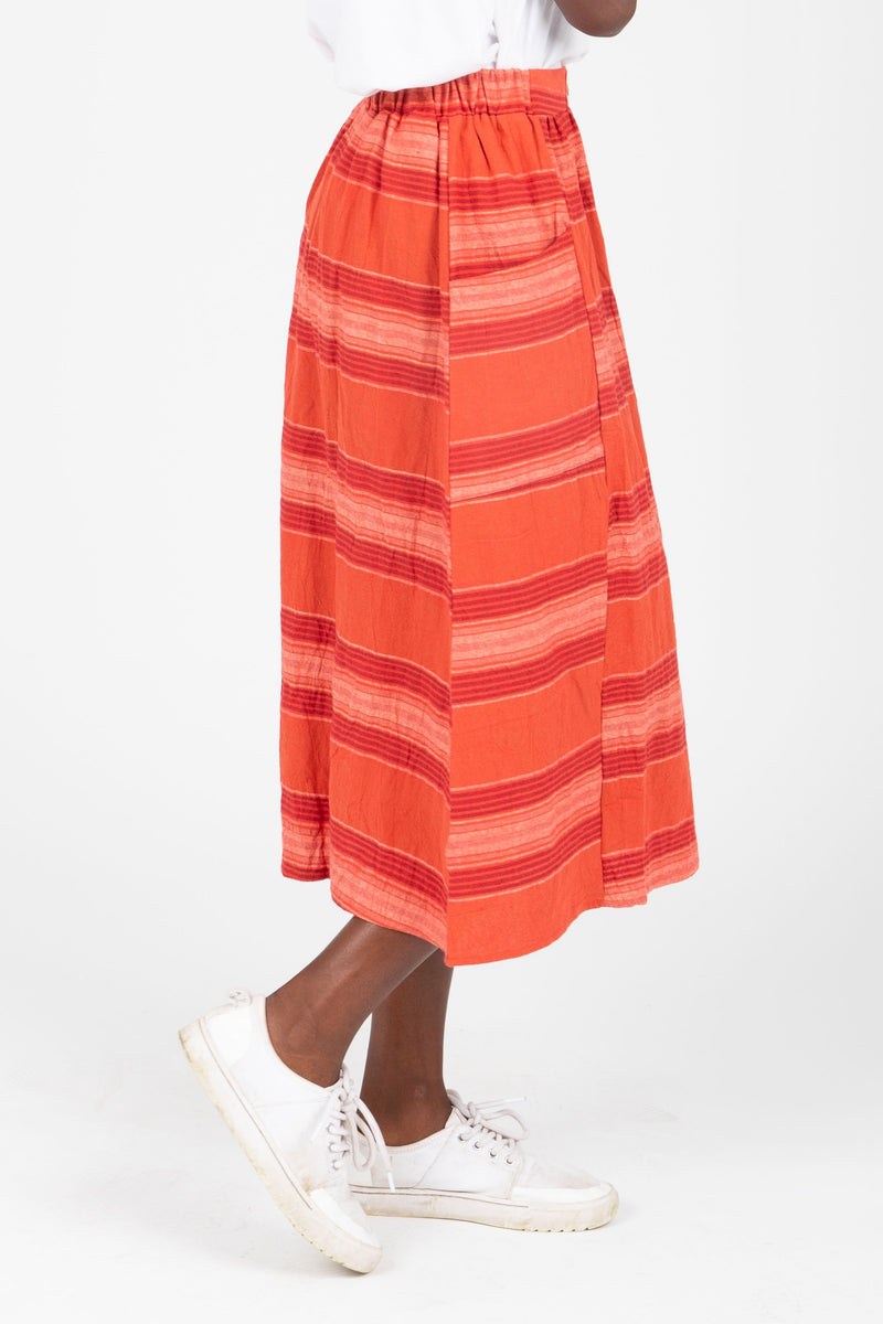 The Chase Striped Midi Skirt in Red