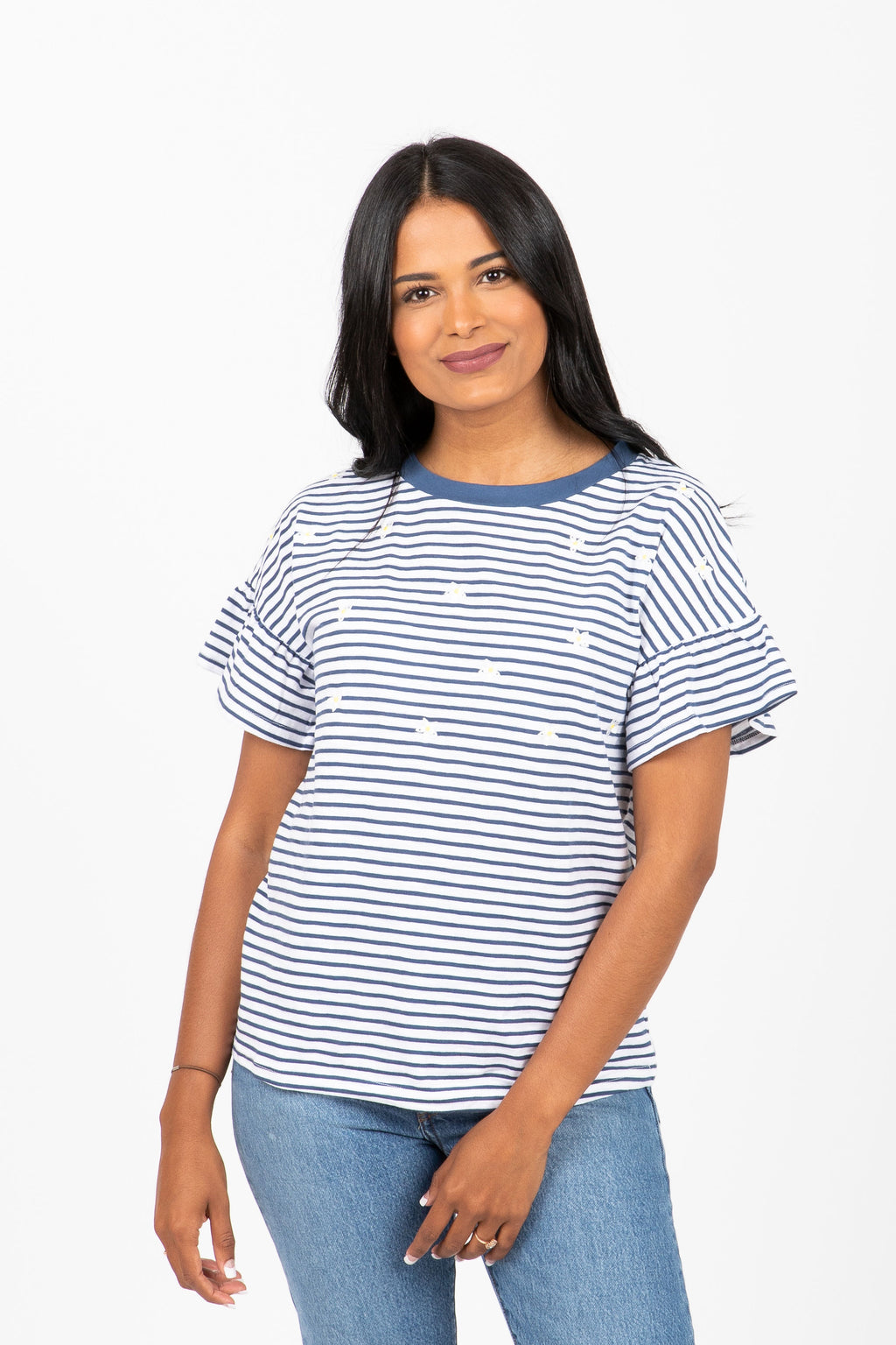 The Furox Daisy Striped Blouse in Blue