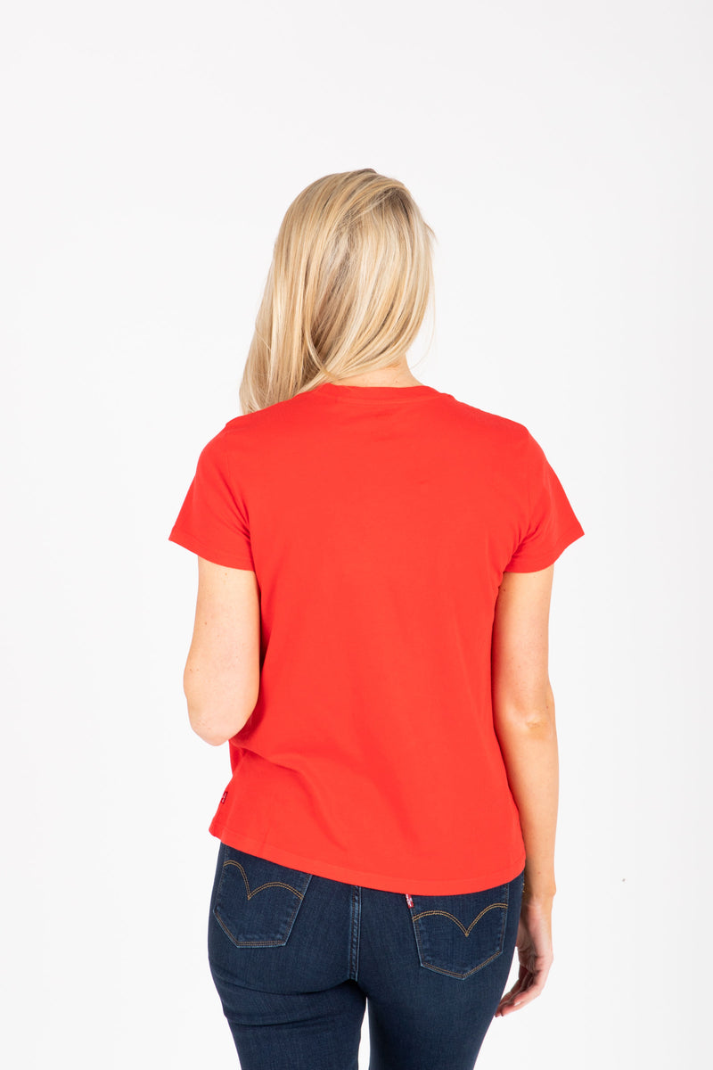 Levi's: 90's Serif Logo Perfect Tee Shirt in Red, studio shoot; back view