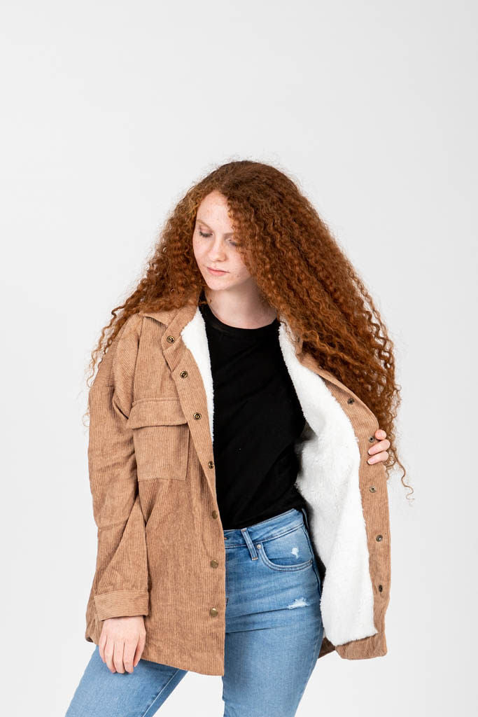 The Arlene Sherpa Corduroy Shirt Jacket in Camel, studio shoot; front view