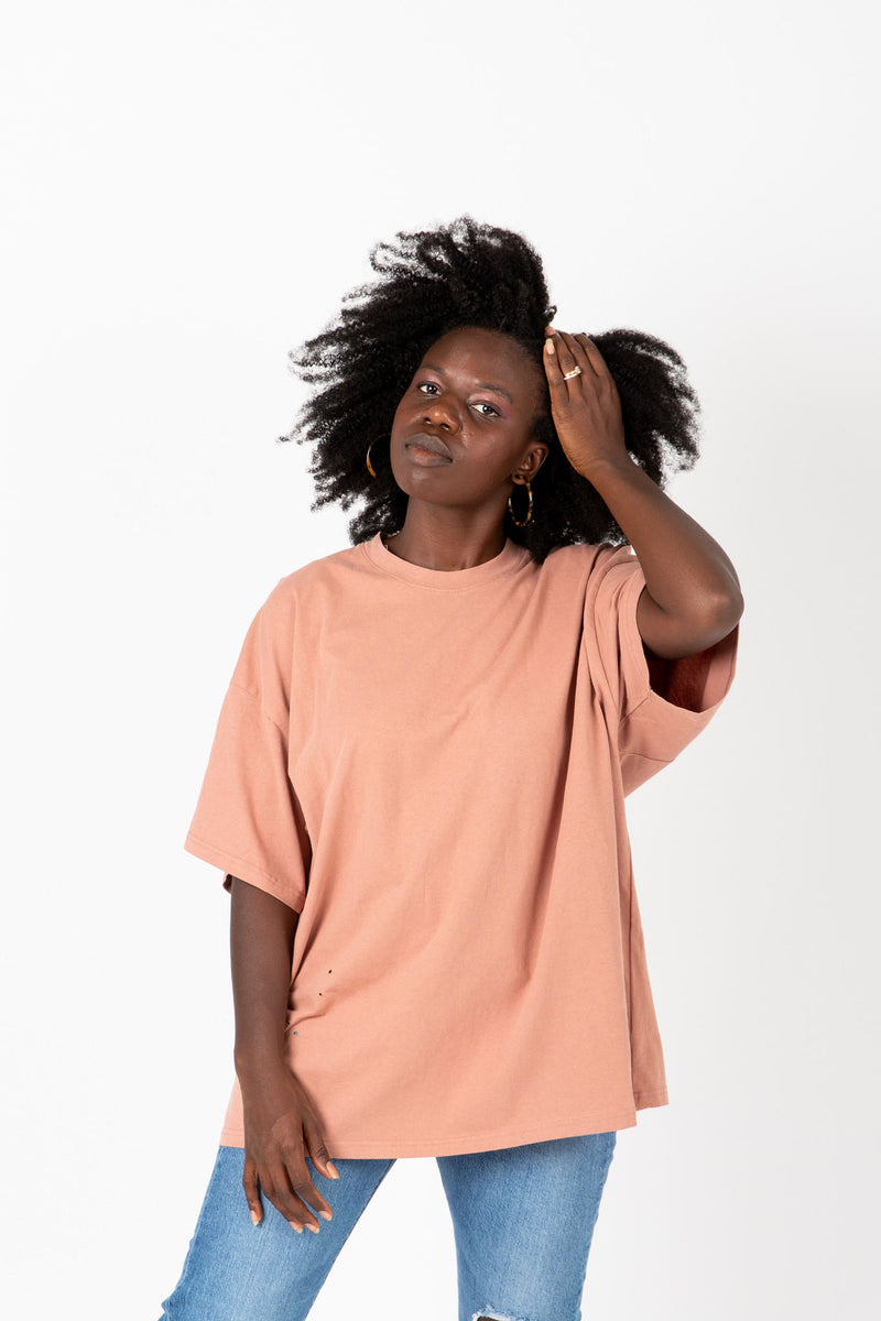 The Fae Distressed Girlfriend Tee in Dusty Peach