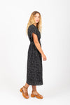 Piper & Scoot: The Amity Dot Wrap Midi Dress in Black