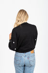 The Jerauld Dot Mock Neck Sweater in Black