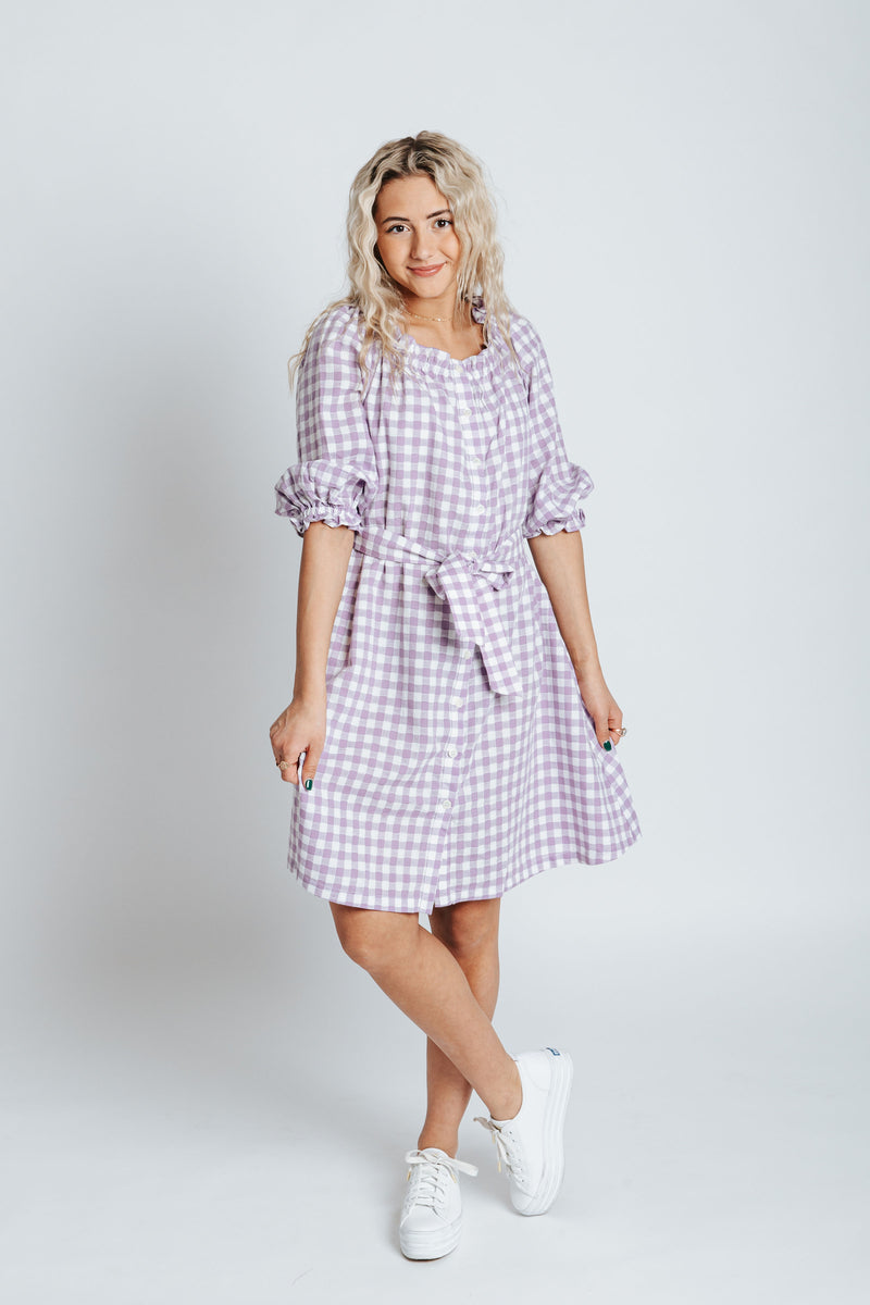 The McCall Gingham Dress in Lavender, studio shoot; front view