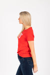 Levi's: 90's Serif Logo Perfect Tee Shirt in Red, studio shoot; side view