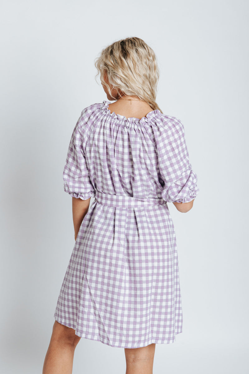 The McCall Gingham Dress in Lavender, studio shoot; back view