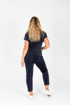 Piper & Scoot: The Bianca Cinch Jumpsuit in Ribbed Navy, studio shoot; back view