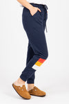 Piper & Scoot: The Lounge PJ Jogger Pant in Navy, studio shoot; side view
