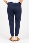 Piper & Scoot: The Lounge PJ Jogger Pant in Navy, studio shoot; back view