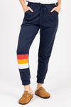 Piper & Scoot: The Lounge PJ Jogger Pant in Navy, studio shoot; front view