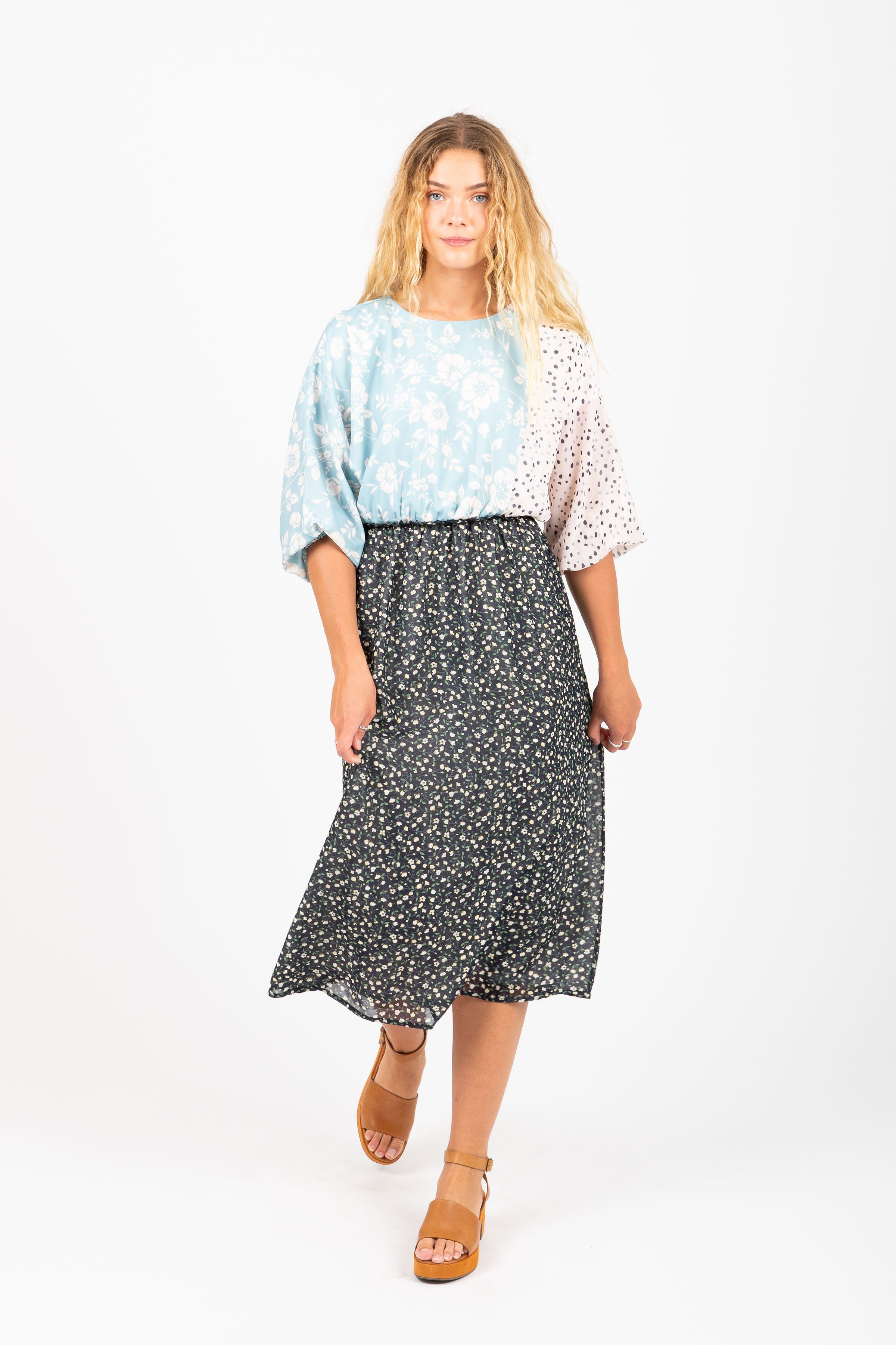 Piper & Scoot: The Beam Mixed Pattern Dress in Navy