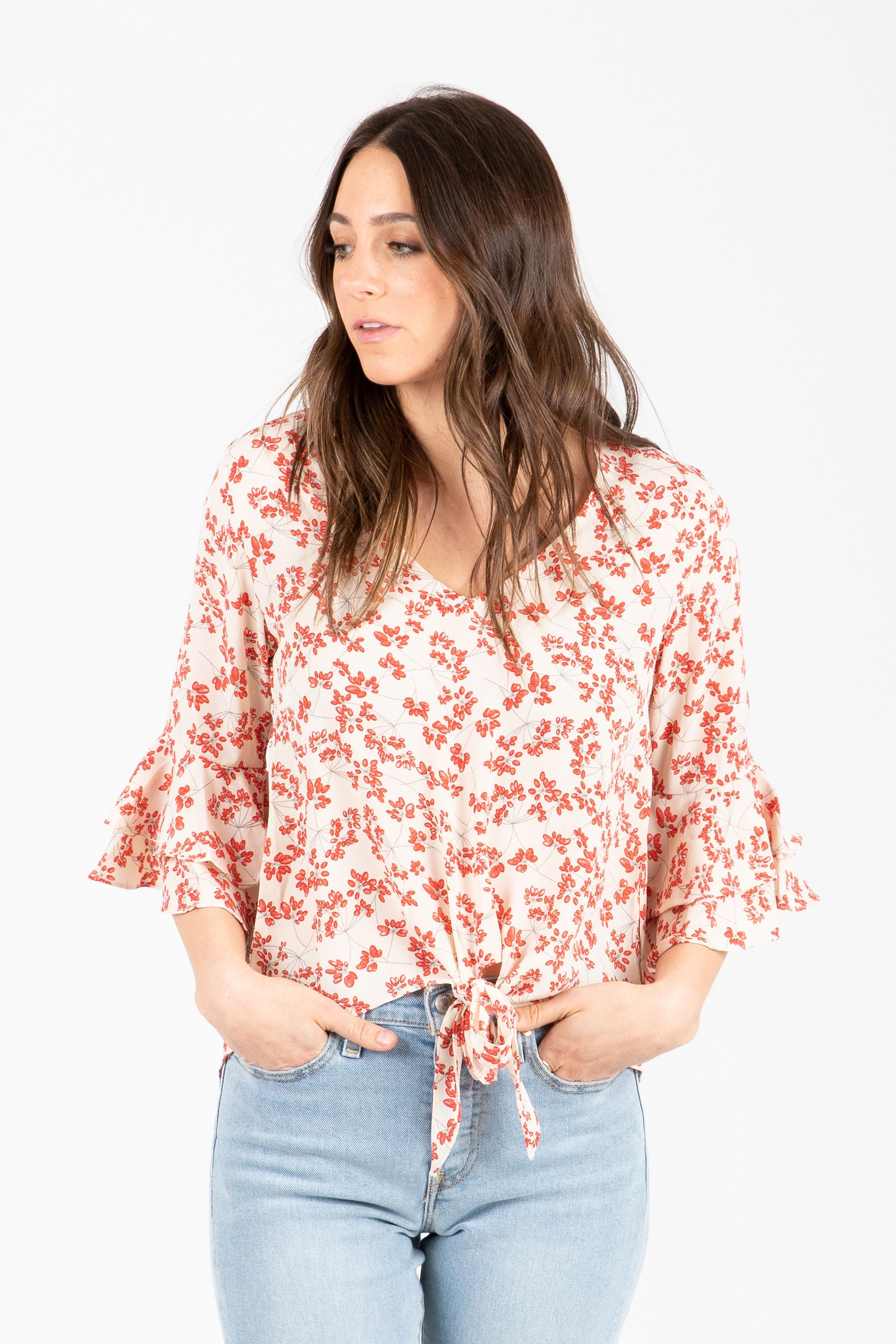 The Twinks Tie Front Floral Blouse in Poppy