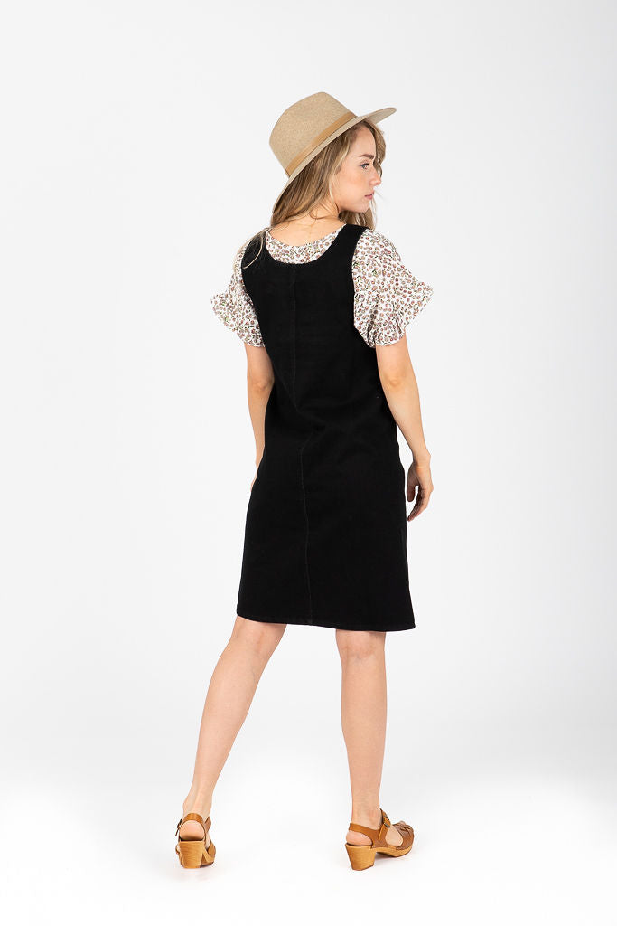 Piper & Scoot: The Jodi Button Jumper Dress in Black