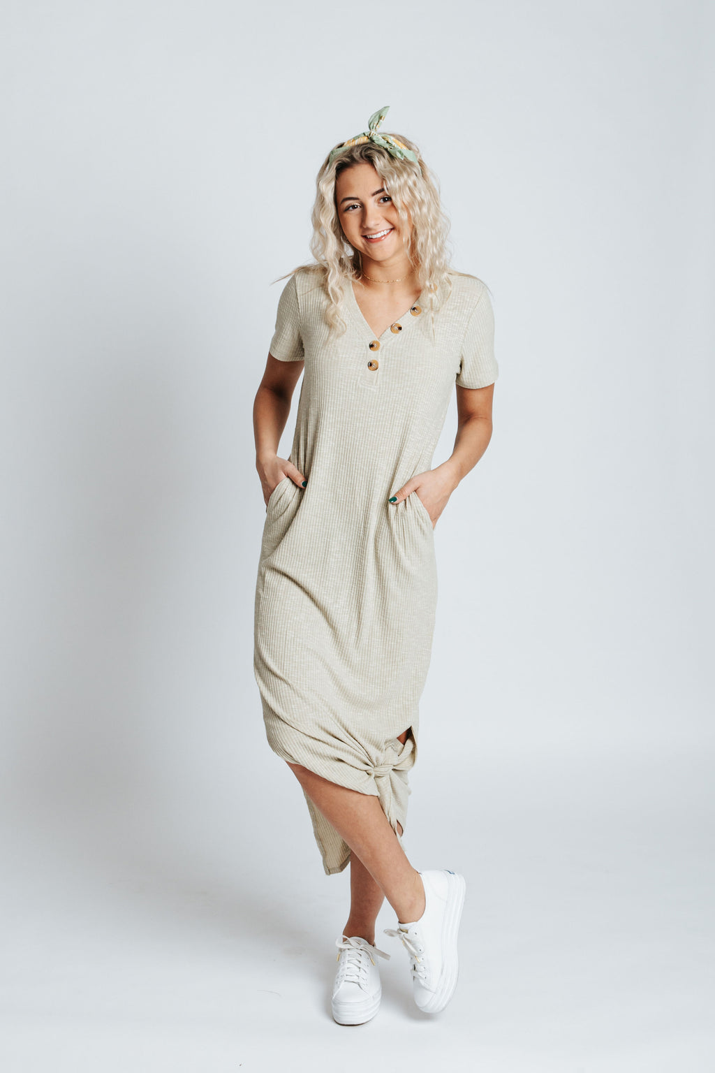 The Ricky Button Casual Dress in Sage, studio shoot; front view