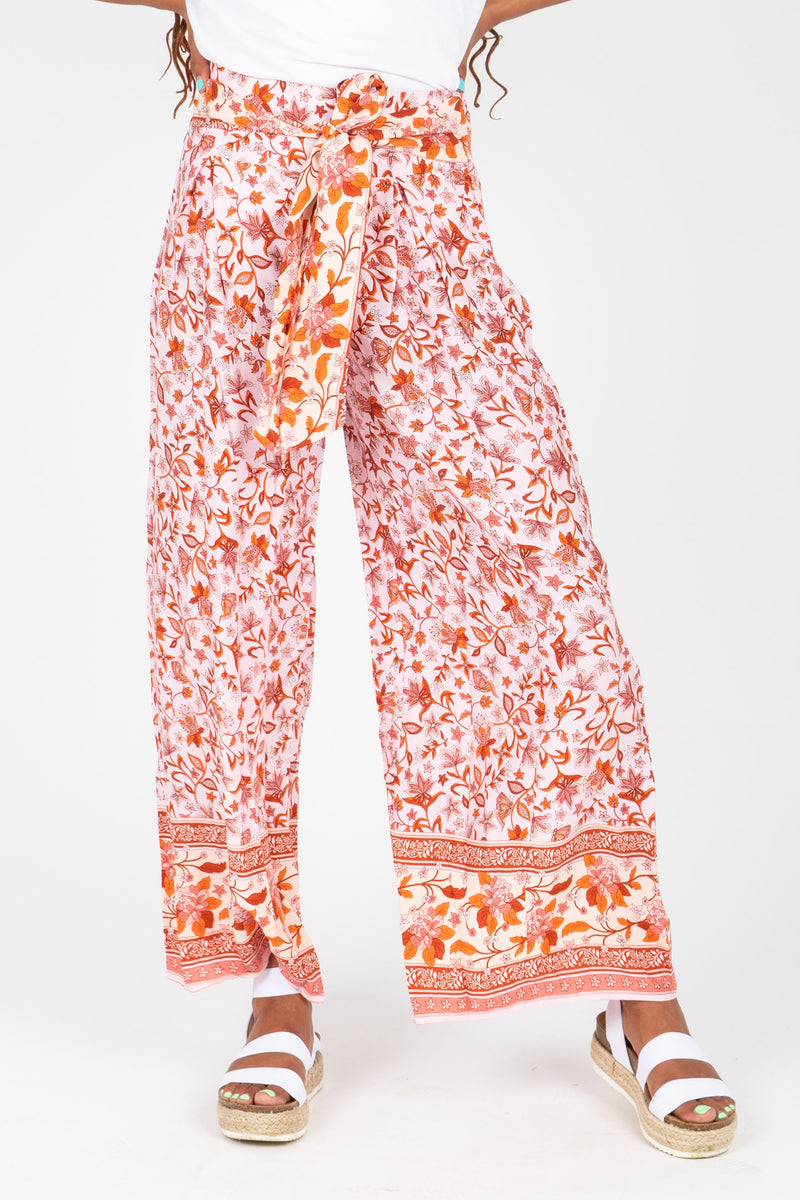 The Parker Patterned Wide Leg Trouser in Rose, studio shoot; front view