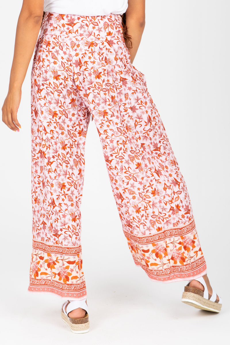 The Parker Patterned Wide Leg Trouser in Rose, studio shoot; back view