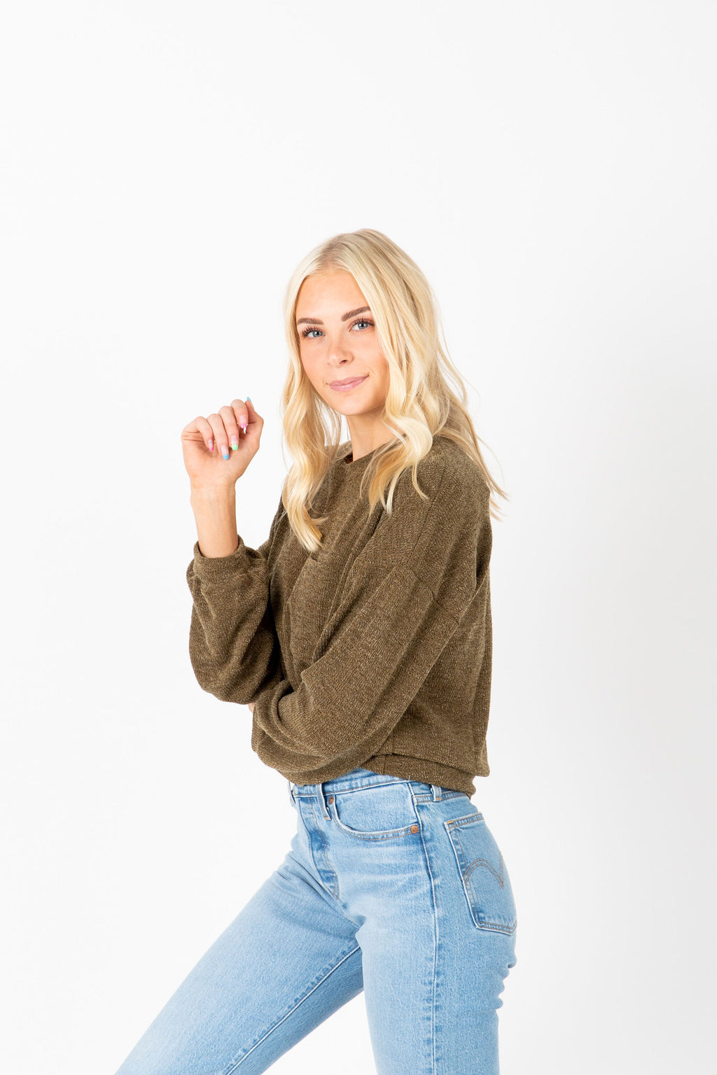 The Skylar Pocket Casual Knit in Olive