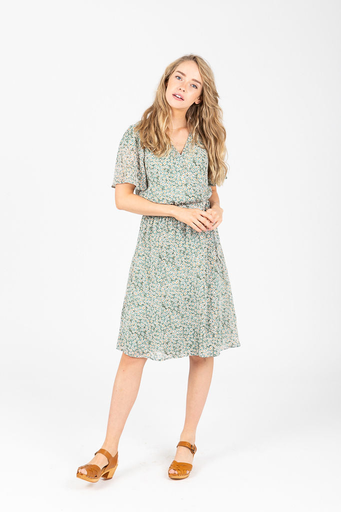 Piper & Scoot: The Kacie Wrap Floral Dress in Sage