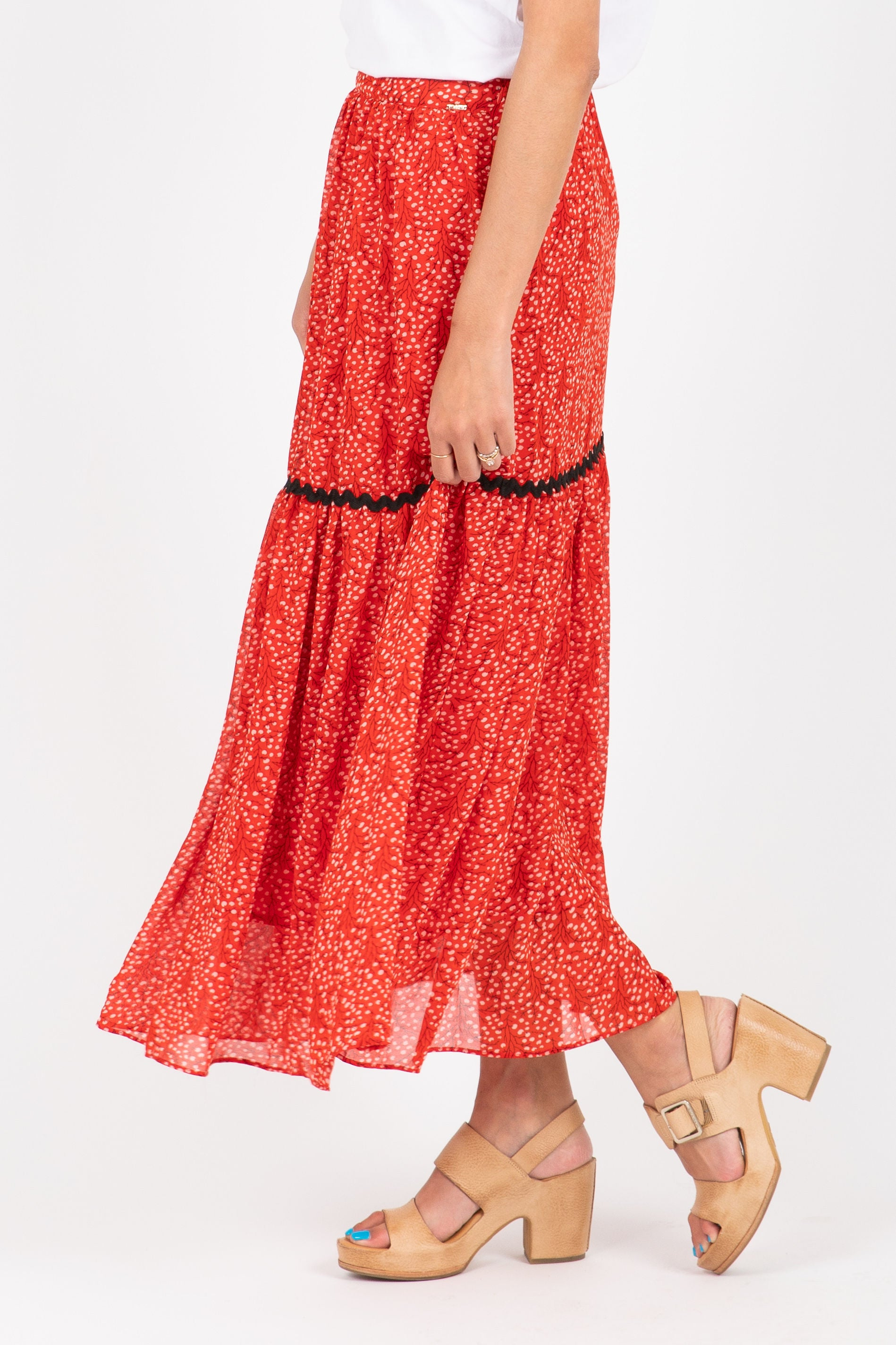 The Jest Dot Pleated Midi Skirt in Red