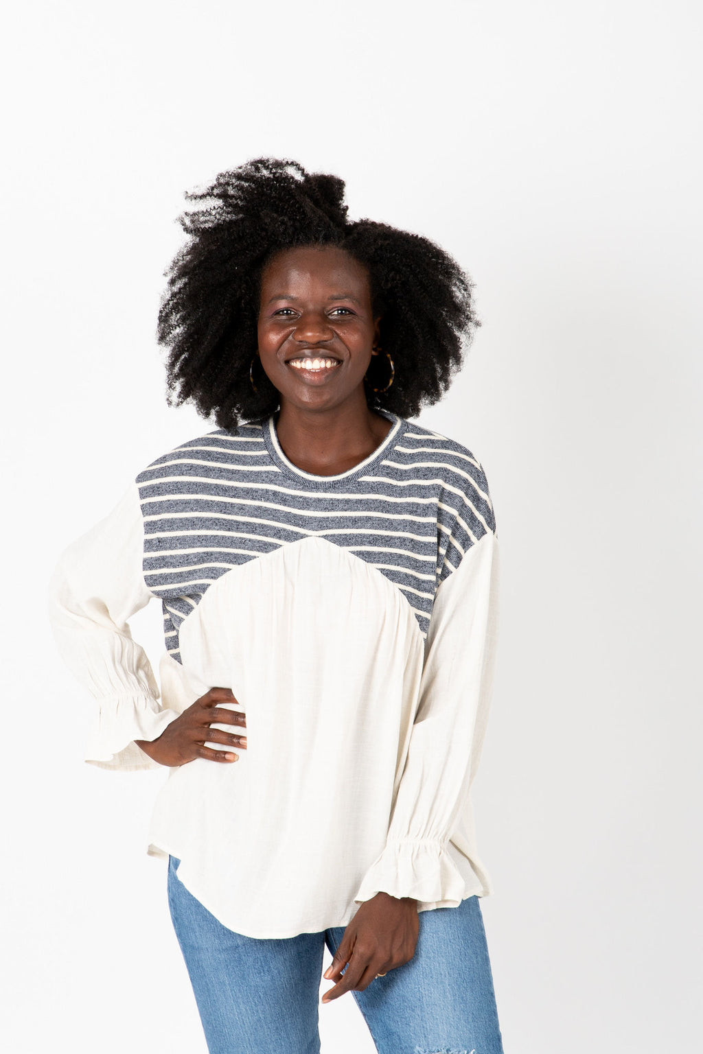 The Kenny Striped Detail Blouse in Ivory, studio shoot; front view