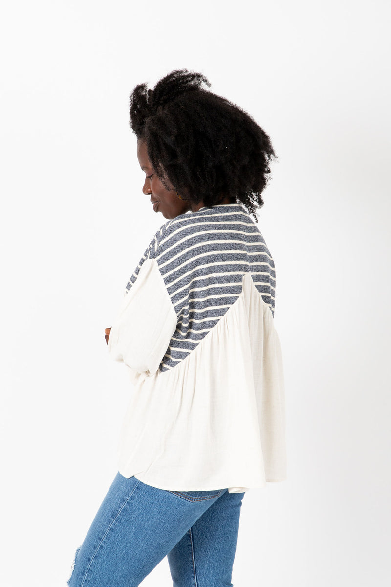 The Kenny Striped Detail Blouse in Ivory, studio shoot; side view