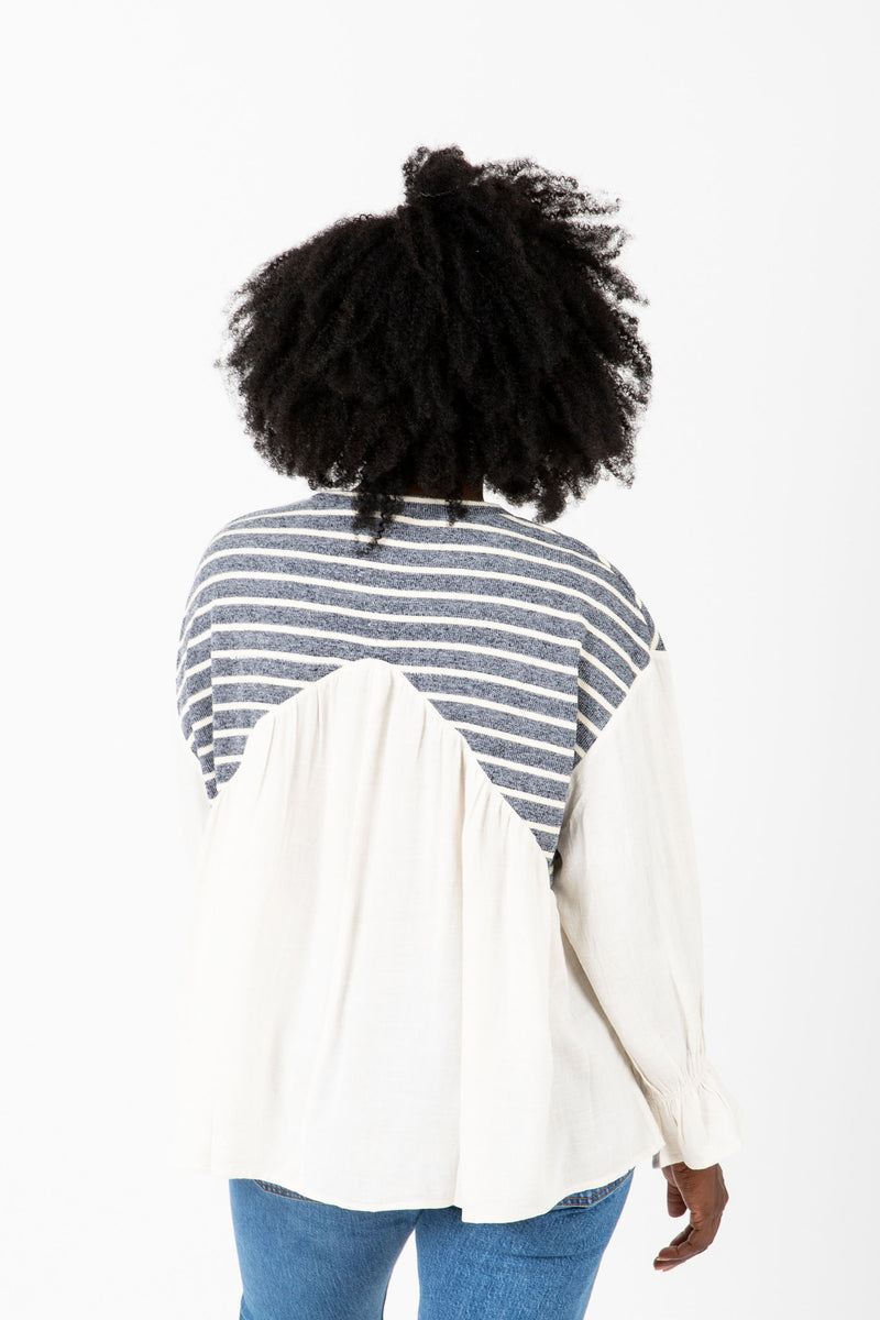 The Kenny Striped Detail Blouse in Ivory, studio shoot; back view