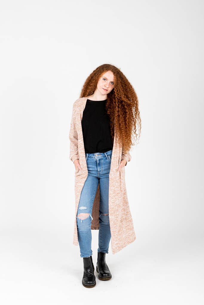 The Luna Duster Cardigan in Oatmeal, studio shoot; front view