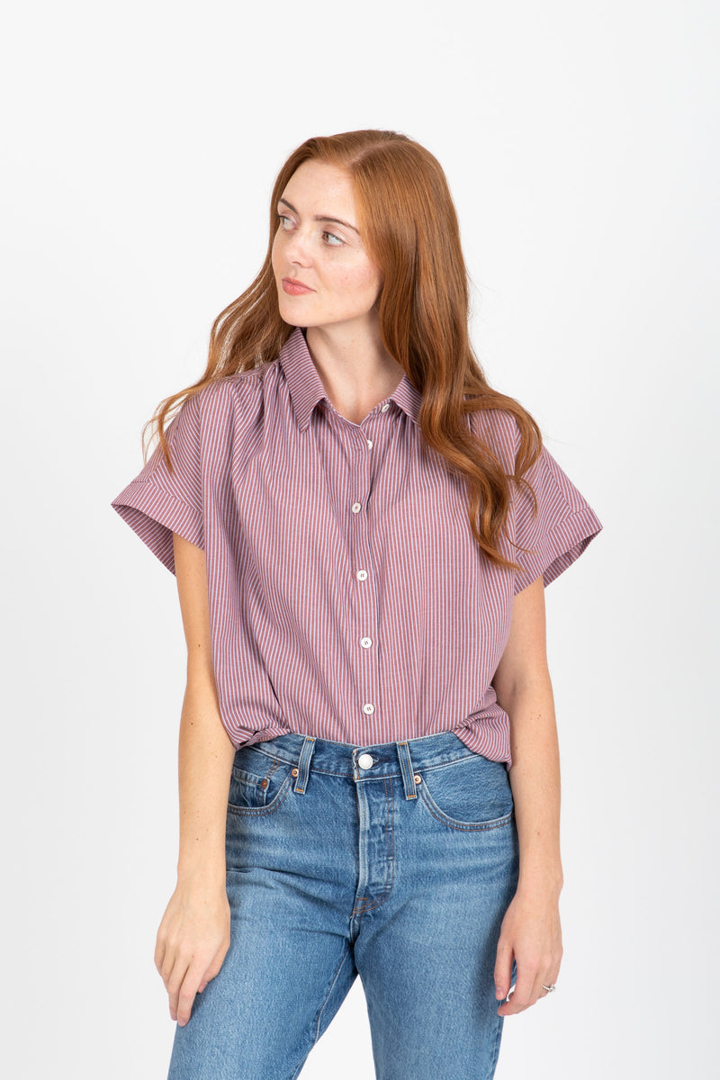 The Clint Striped Button Up Blouse in Burgundy