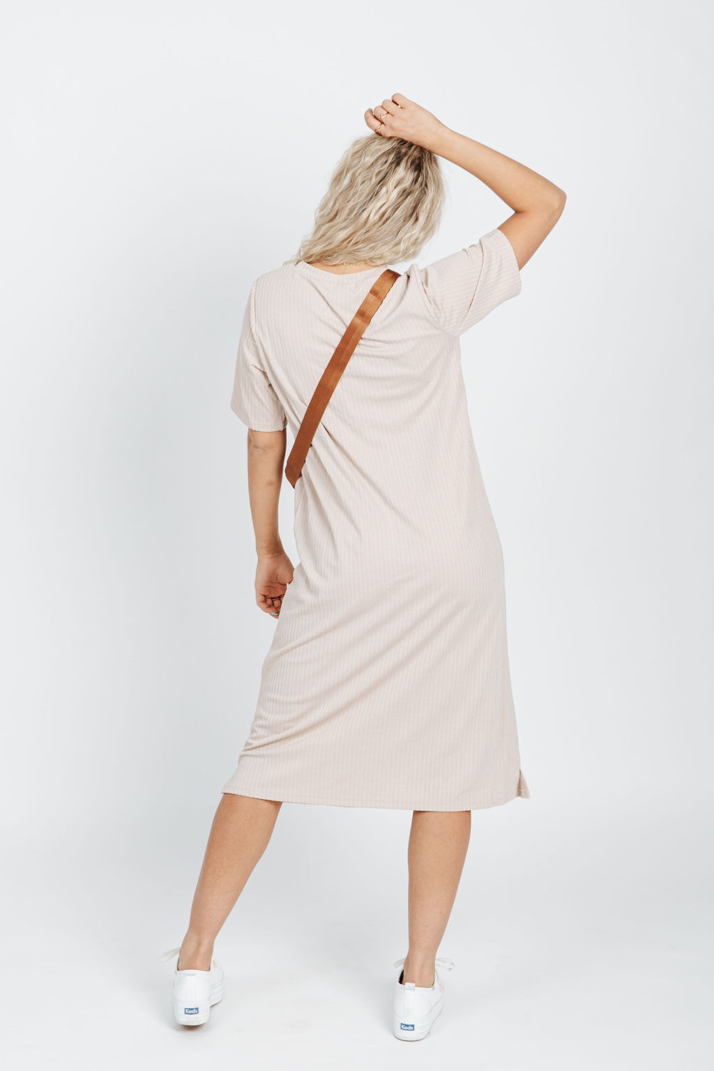 The Colbie Casual Ribbed Dress in Natural, studio shoot; back view