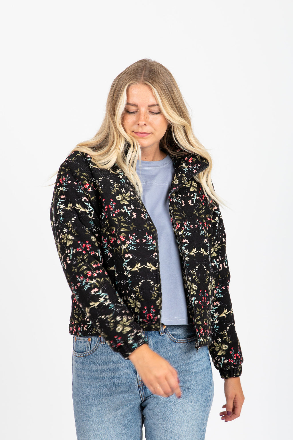 The Apollo Floral Bomber Jacket in Black