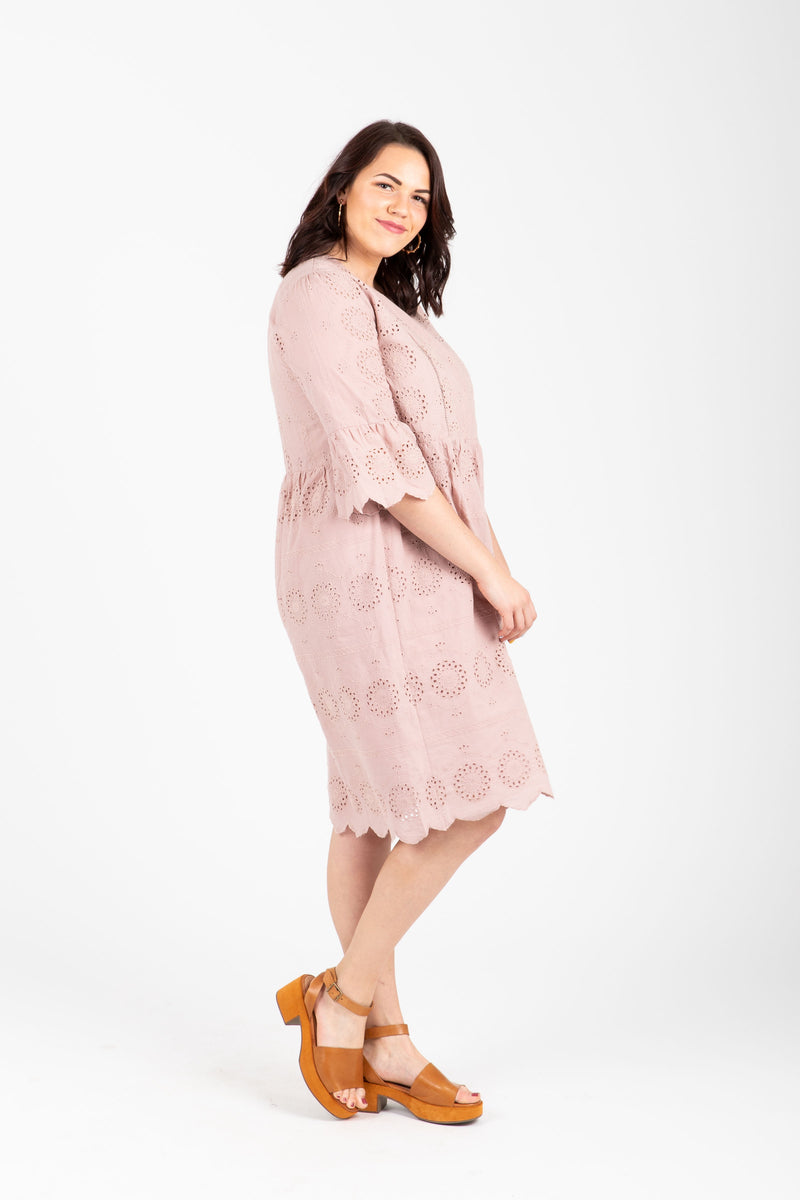 Piper & Scoot: The Aimee Eyelet Empire Dress in Mauve