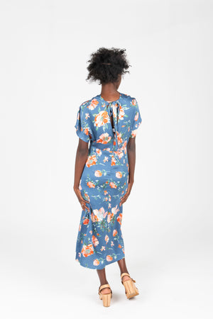 The Jonah Silk Floral Dress in Blue