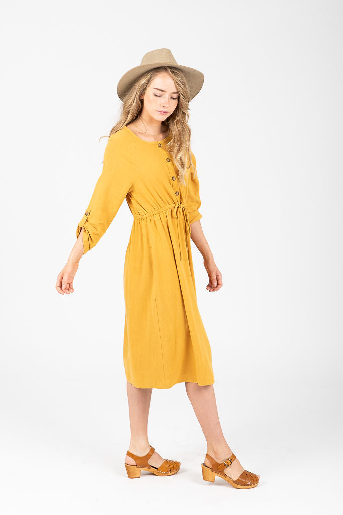 The Nouveau Button Tie Dress in Mustard